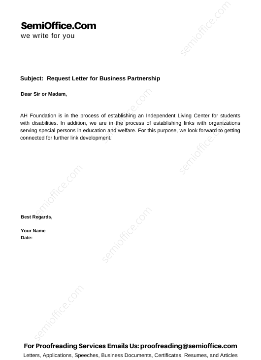 Request Letter for Business Partnership