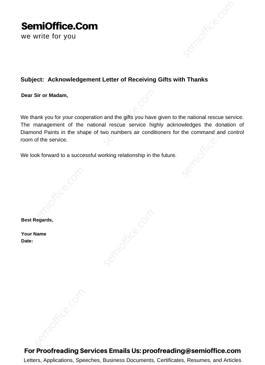 Acknowledgement Letter of Receiving Gifts with Thanks
