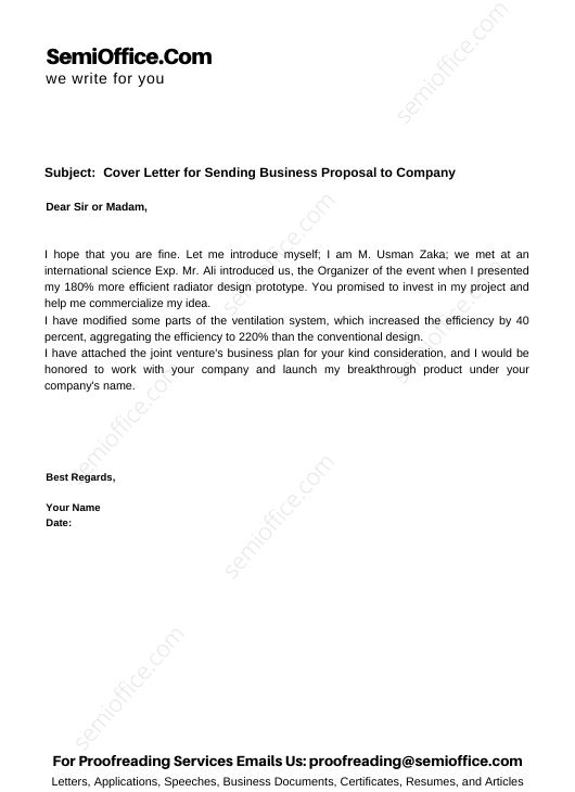 Cover Letter for Sending Business Proposal to Company