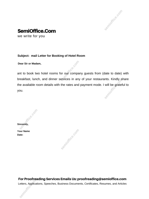 Email Letter for Booking of Hotel Room