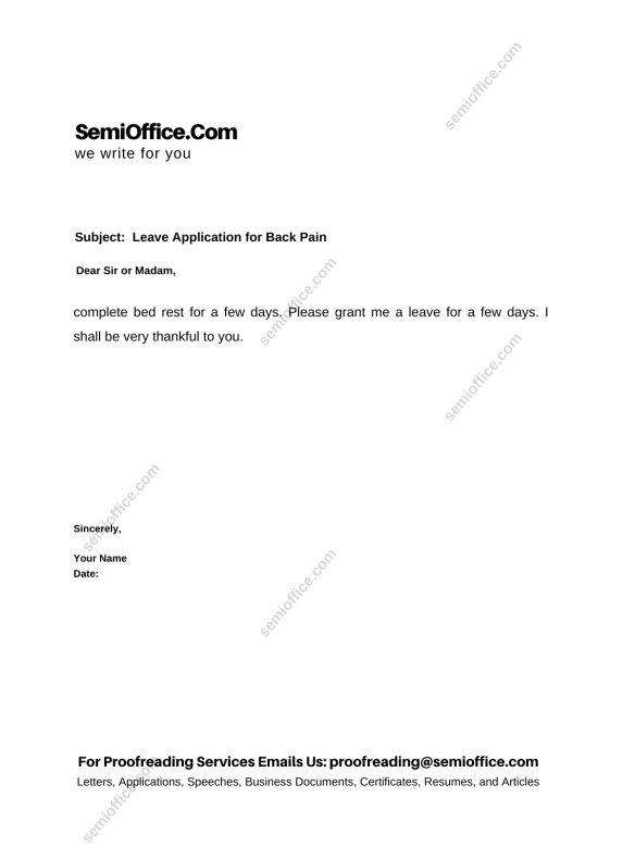 Leave Application for Back Pain for Office/School
