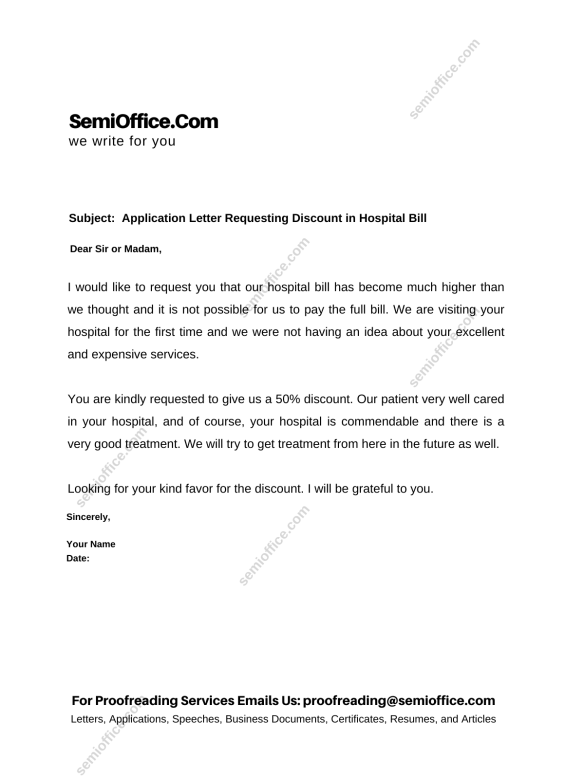 Application Letter Requesting Discount in Hospital Bill