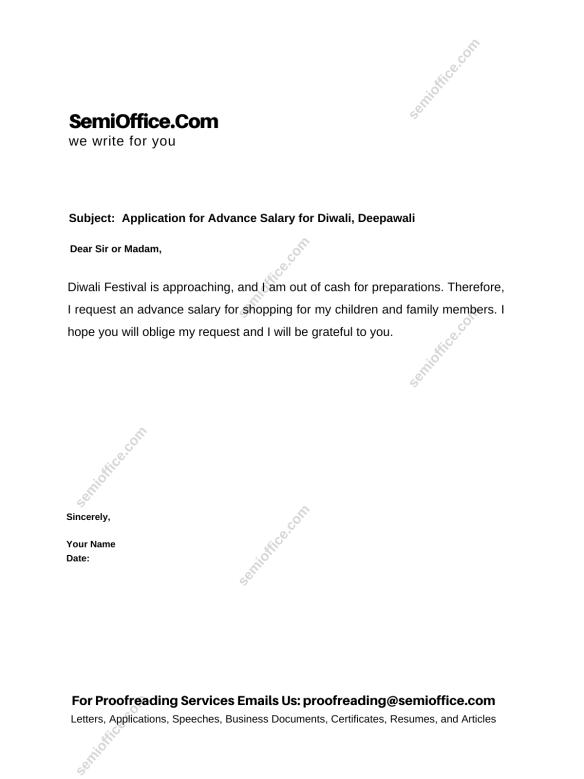 Application for Advance Salary for Diwali, Deepawali