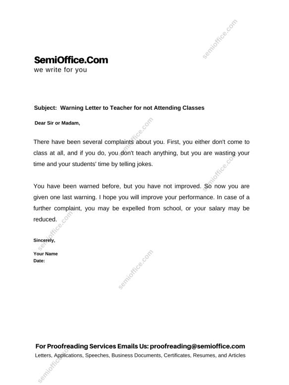 Warning Letter to Teacher for not Attending Classes