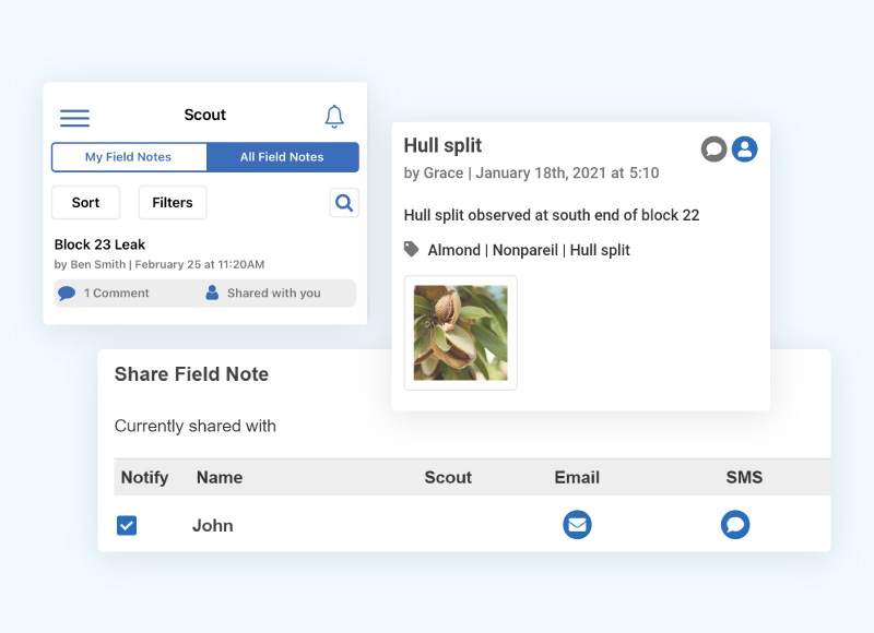 Example of a field note identifying the location of hull split in an almond orchard with a tagged photo, and the interface for sharing a field note with someone in your team