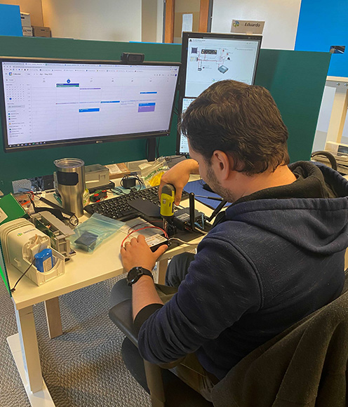 Member of the Semios embedded team working on hardware