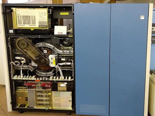 """An IBM 3380E disk storage system, holding 5 gigabytes. The disk platters are center-left, labeled """"E"""". Photo taken at the Large Scale Systems Museum."""