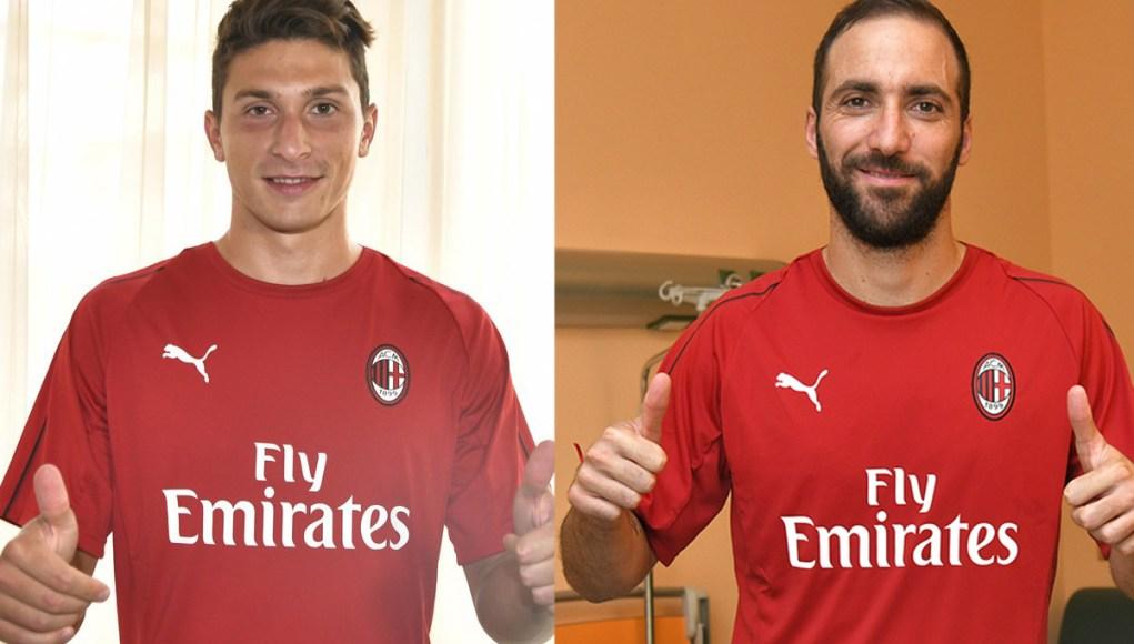 Mattia Caldara and Gonzalo Higuain for AC Milan