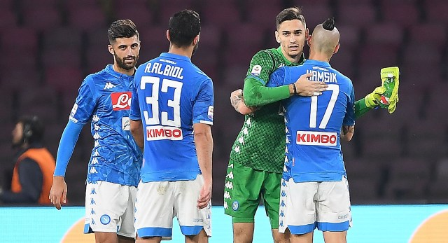 during the Serie A match between SSC Napoli and Spal at Stadio San Paolo on December 22, 2018 in Naples, Italy.