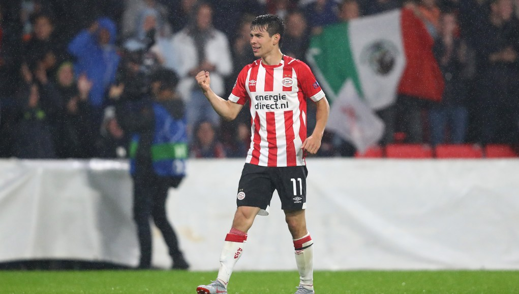EINDHOVEN, NETHERLANDS - AUGUST 29: Hirving Lozano of PSV celebrates scoring the third goal during the UEFA Champions League Play-off second leg match between PSV Eindhoven and BATE Borisov at the Phillips Stadium on August 29, 2018 in Eindhoven, Netherlands. (Photo by Dean Mouhtaropoulos/Getty Images)