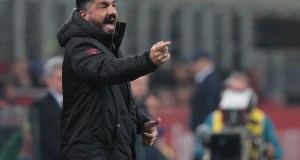 MILAN, ITALY - FEBRUARY 22: AC Milan coach Ivan Gennaro Gattuso issues instructions to his players during the Serie A match between AC Milan and Empoli at Stadio Giuseppe Meazza on February 22, 2019 in Milan, Italy. (Photo by Emilio Andreoli/Getty Images)