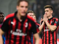 AC Milan's Polish forward Krzysztof Piatek (R) reacts during the Italian Serie A football match AC Milan vs Inter Milan at the San Siro stadium in Milan. (Photo by Miguel MEDINA / AFP) (Photo credit should read MIGUEL MEDINA/AFP/Getty Images)