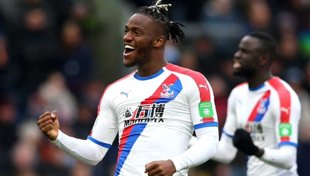 BURNLEY, ENGLAND - MARCH 02: Michy Batshuayi of Crystal Palace celebrates after scoring his team's second goal during the Premier League match between Burnley FC and Crystal Palace at Turf Moor on March 02, 2019 in Burnley, United Kingdom. (Photo by Alex Livesey/Getty Images)
