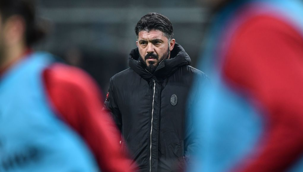 AC Milan's Italian coach Gennaro Gattuso looks on prior to the Italian Serie A football match AC Milan vs Napoli on January 26, 2019 at the San Siro stadium in Milan. (Photo by Miguel MEDINA / AFP) (Photo credit should read MIGUEL MEDINA/AFP/Getty Images)
