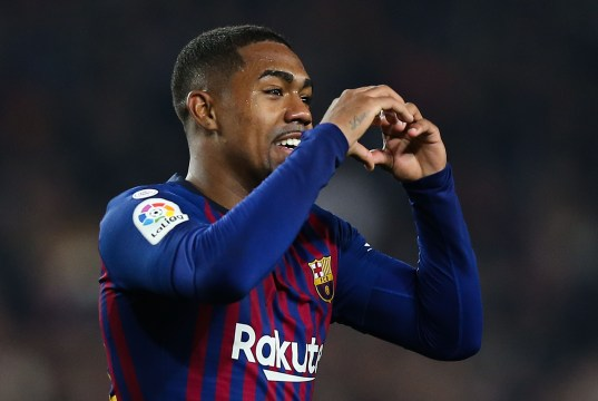 BARCELONA, SPAIN - FEBRUARY 06: Malcom of FC Barcelona celebrates after scoring his team's first goal during the Copa del Semi Final first leg match between Barcelona and Real Madrid at Nou Camp on February 06, 2019 in Barcelona, Spain. (Photo by Angel Martinez/Getty Images)