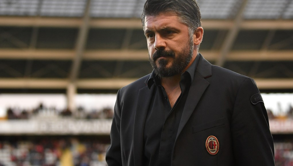 TURIN, ITALY - APRIL 28: AC Milan head coach Gennaro Gattuso looks on during the Serie A match between Torino FC and AC Milan at Stadio Olimpico di Torino on April 28, 2019 in Turin, Italy. (Photo by Valerio Pennicino/Getty Images)