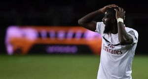 AC French Milan's midfielder Tiemoue Bakayoko reacts during the Italian Serie A football match between Torino and AC Milan on April 28, 2019 at the Grande Torino stadium in Turin. (Photo by MARCO BERTORELLO / AFP) (Photo credit should read MARCO BERTORELLO/AFP/Getty Images)