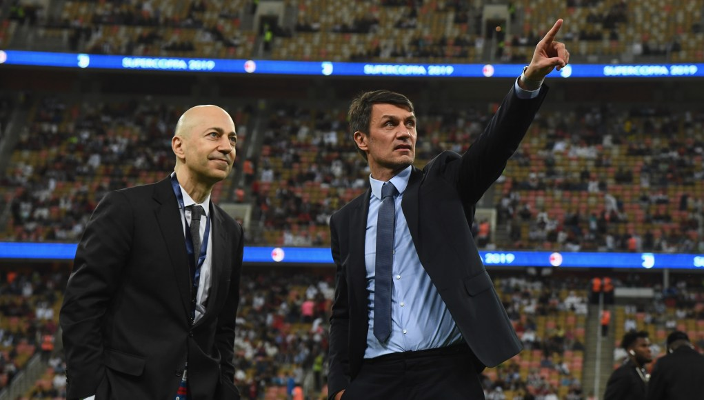 JEDDAH, SAUDI ARABIA - JANUARY 16: Paolo Maldini (R) and Ivan Gazidis of AC Milan are seen ahead of the Italian Supercup match between Juventus and AC Milan at King Abdullah Sports City on January 16, 2019 in Jeddah, Saudi Arabia. (Photo by Claudio Villa/Getty Images for Lega Serie A)
