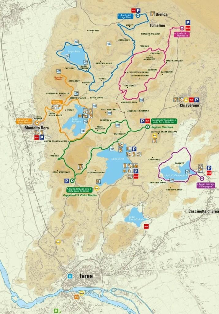 Mappa anello dei cinque laghi e delle terre ballerine