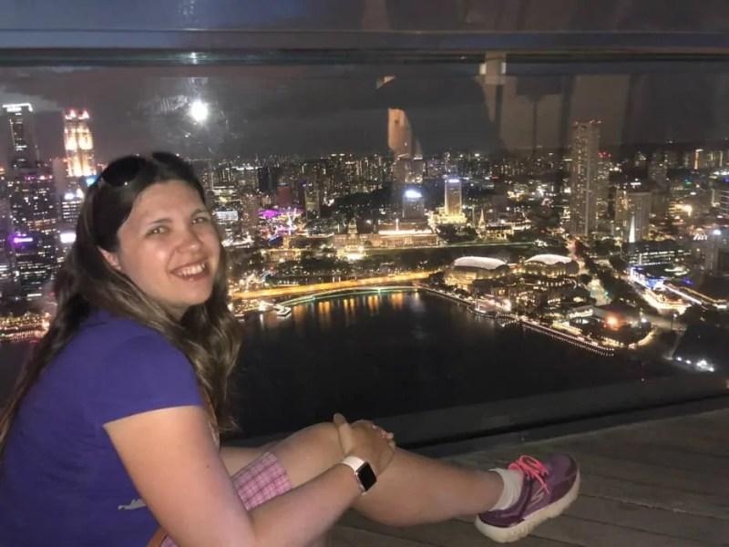 Singapore e lo skyline di notte