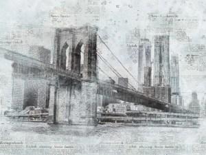 new york city skyline disegno in stile giornale