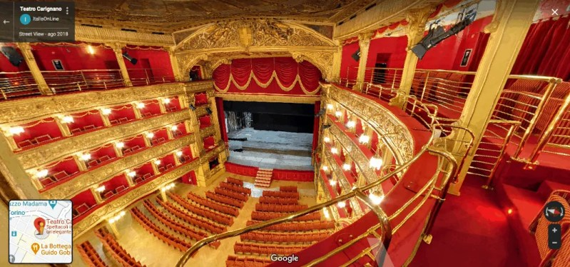Visitare Teatro Carignano con Google Maps e Google Street View