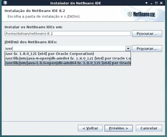 Mostrando onde tá instalado o OpenJDK para o instalador do Netbeans