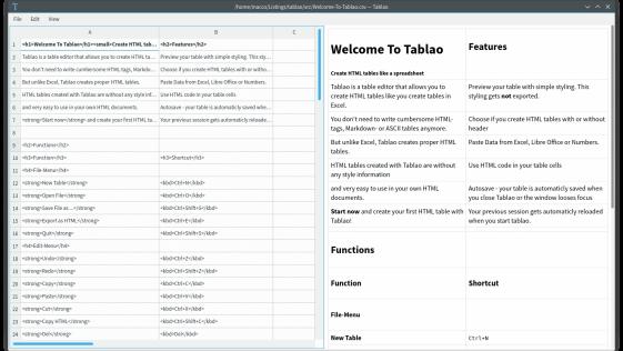 Tablao – Crie tabelas em HTML de forma simples como no EXCEL ou Calc