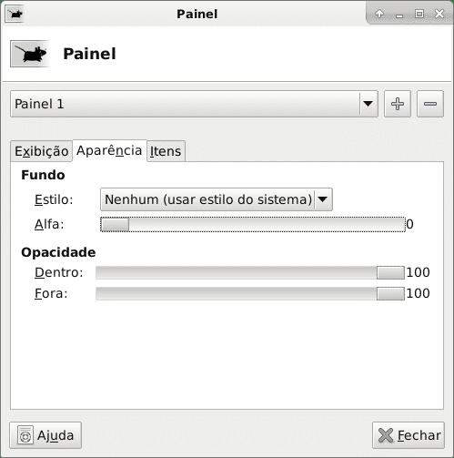 Janela de configuração do painel 1 aparência