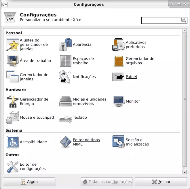 Gerenciador de configurações