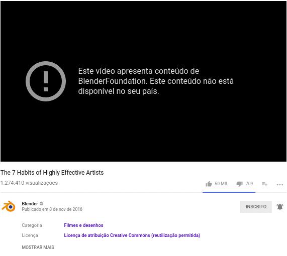 Youtube bloqueia vídeos do Blender