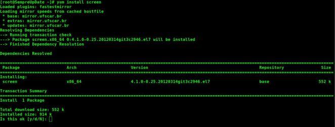 Múltiplas telas com o comando screen no Linux
