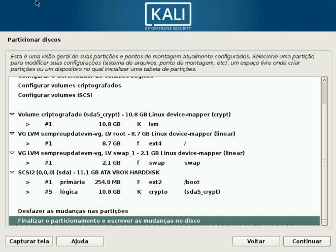 Kali Linux - Confirmação Criação de Partição