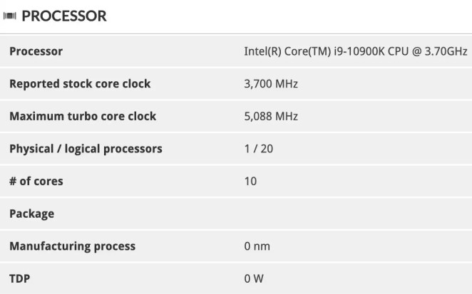 Intel Core i9-10900K foi visto com clock de 5.1 GHz