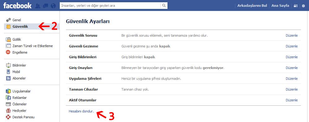 facebook hesabı dondurmak
