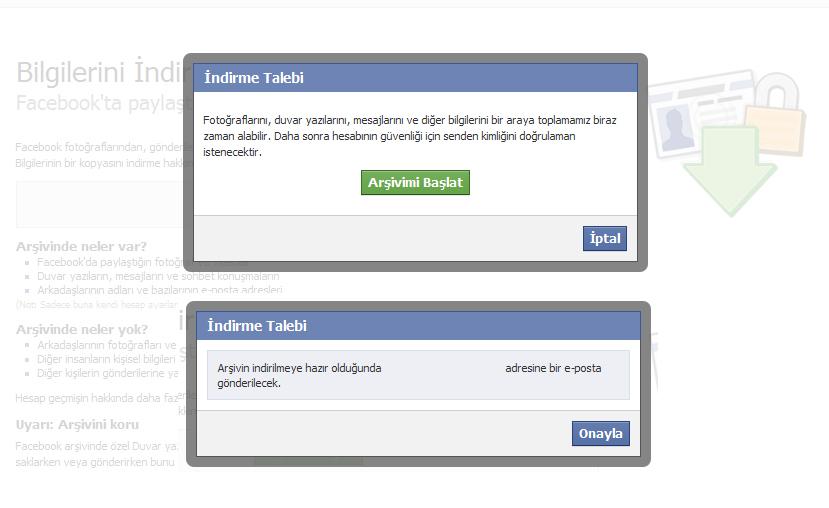 facebook profil yedekleme