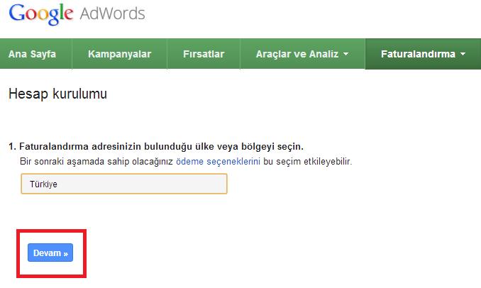 adwords hesabı kurulumu