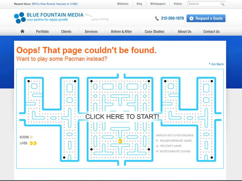 blue fountain 404 sayfası