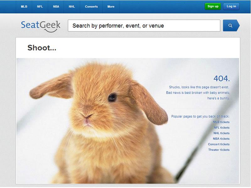 seatgeek 404 sayfası