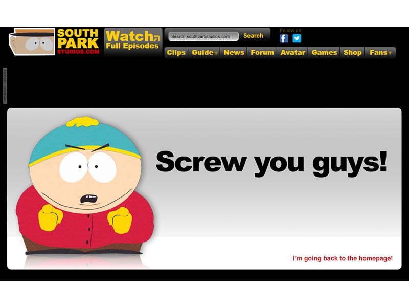 southpark 404 Sayfası