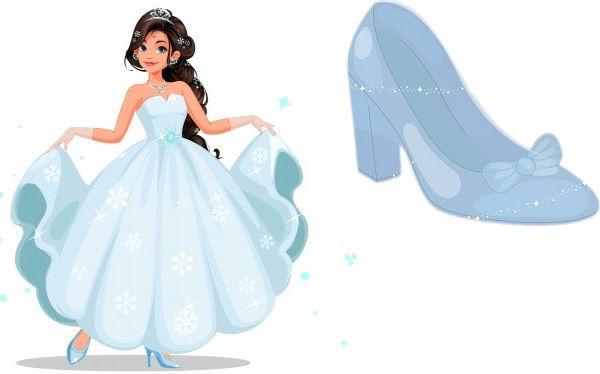 シンデレラと白い背景の上の彼女の靴