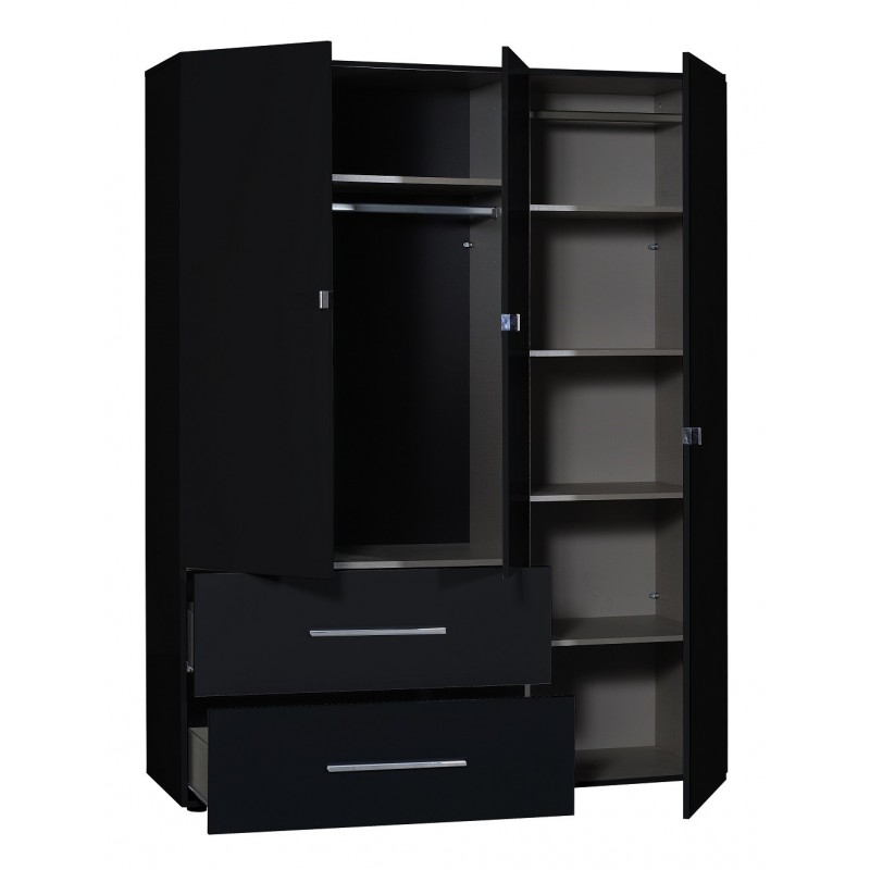 First II Black Gloss 3 Door Wardrobe With Mirror