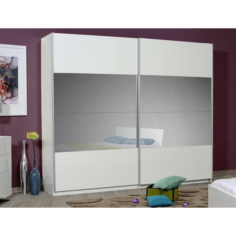 Optimus Large White Gloss Wardrobe With Sliding Doors And