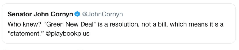 "bad cornyn tweet about how GND is a resolution not a bill ""Who knew!"""