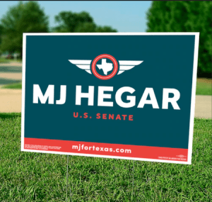 MJ Hegar yard sign