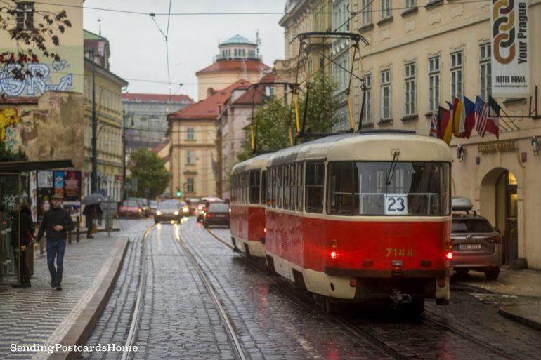 Prague tram and street