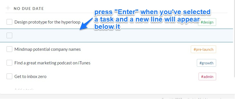 4- Create a task by pressing Enter
