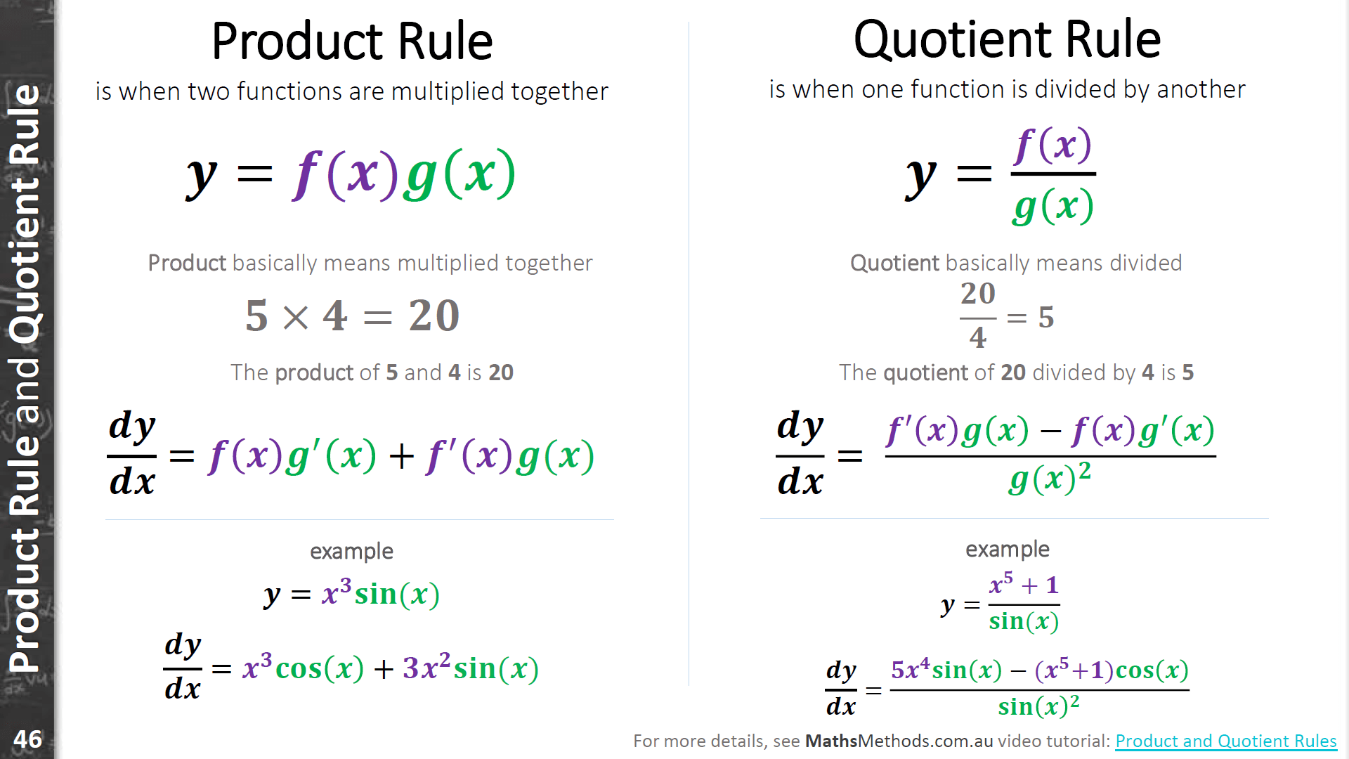 Product Rule And Quotient Rule In Maths Methods