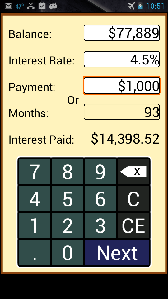 Payoff Calculator