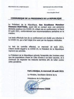 Côte d'ivoire : Le Président Alassane Ouattara guéri du Covid-19